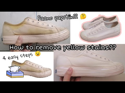 How to remove yellow stains on white shoes (4 Easy Steps)||Hanna Patricia
