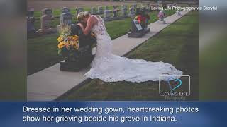 Bride takes wedding photos alone after fiance killed by alleged drunk driver