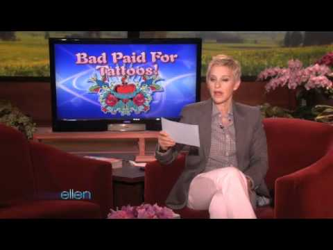 Ellen Has Even More Outrageous Bad Paid-For Tattoos