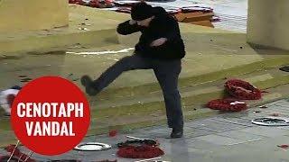 Former soldier kicks  poppy wreaths off Cenotaph