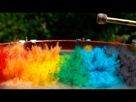 download Paint on a Drum in 4K Slow Mo - The Slow Mo Guys
