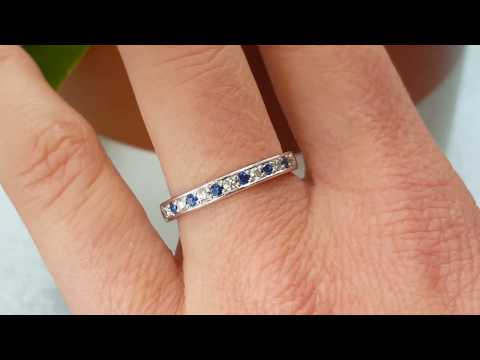 diamond-ring-blue-sapphire-18ct-white-gold-2.6mm-round-cut-and-0.12ct-blue-gemstones-hobart-tasmania