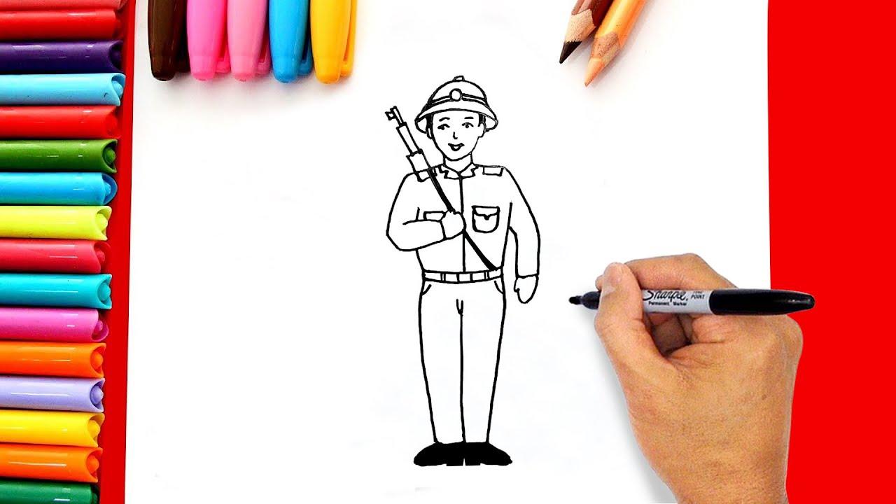 Vẽ chú bộ đội đơn giản – Cách vẽ chú bộ đội  – Hướng dẫn vẽ tranh chú bộ đội