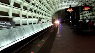 WMATA Metrorail - Alstom 6000 Series #6012 arriving into Federal Triangle [Mobile Video]
