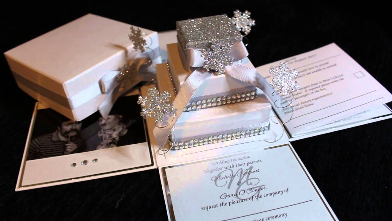 boxed wedding invitations snowflake exploding box wedding invitation 2048