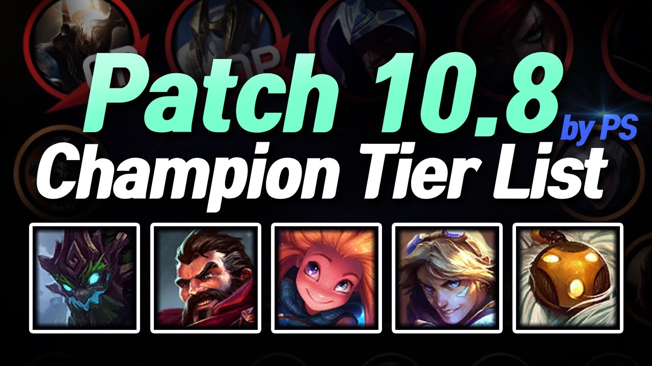 Patch 10 8 Champion Tier List In Kr Youtube