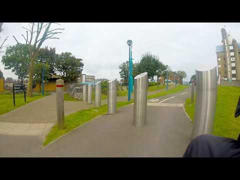 Wheelchair rides. Thames path. Thames flood barrier to Cutty Sark Greenwich.