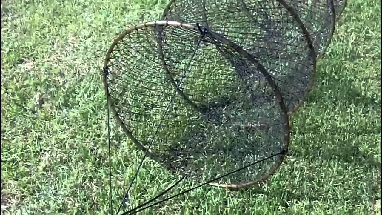 How to set up a hoop net youtube for How to make a fish trap for big fish