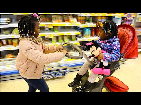 Toys AndFun Sisters Doing Shopping At The SuperMarket And Playing Compilation video