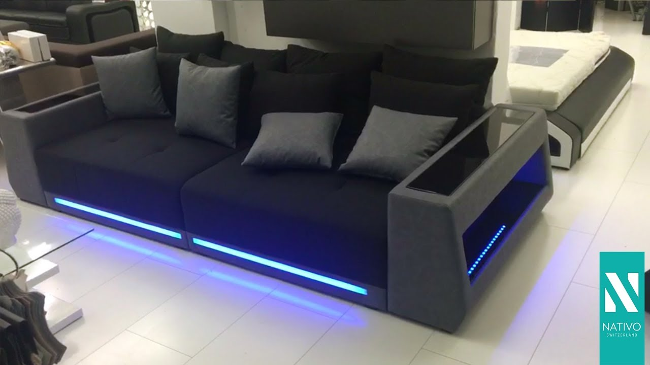 nativo m bel sterreich big sofa vice mit led beleuchtung youtube. Black Bedroom Furniture Sets. Home Design Ideas