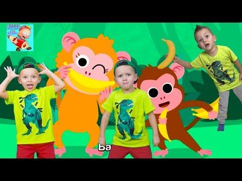 Monkey Bananas Animal Songs Nursery Rhymes Learn colors with Baby monkey