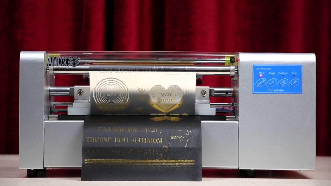 wedding card printer,leather/sticker/pvc card foil printer - YouTube