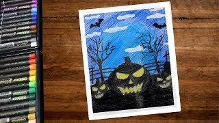 Halloween Pumpkin Drawing With Color Pencil Step By Step