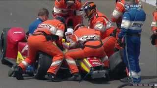 Verizon IndyCar 2015. Indianapolis 500. Saavedra,  Coletti and Hawksworth crash