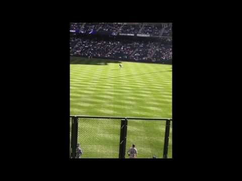 Clayton Kershaw throwing ball from other side of the field. (Rockies vs dodgers)