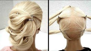 Быстрая Объемная вечерняя прическа из резинок.Пошагово!Fast Volumetric Vespers hairdo. Step by step!