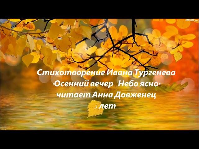 Изображение предпросмотра прочтения – АннаДовженец читает произведение «Осенний вечер...Небо ясно» И.С.Тургенева
