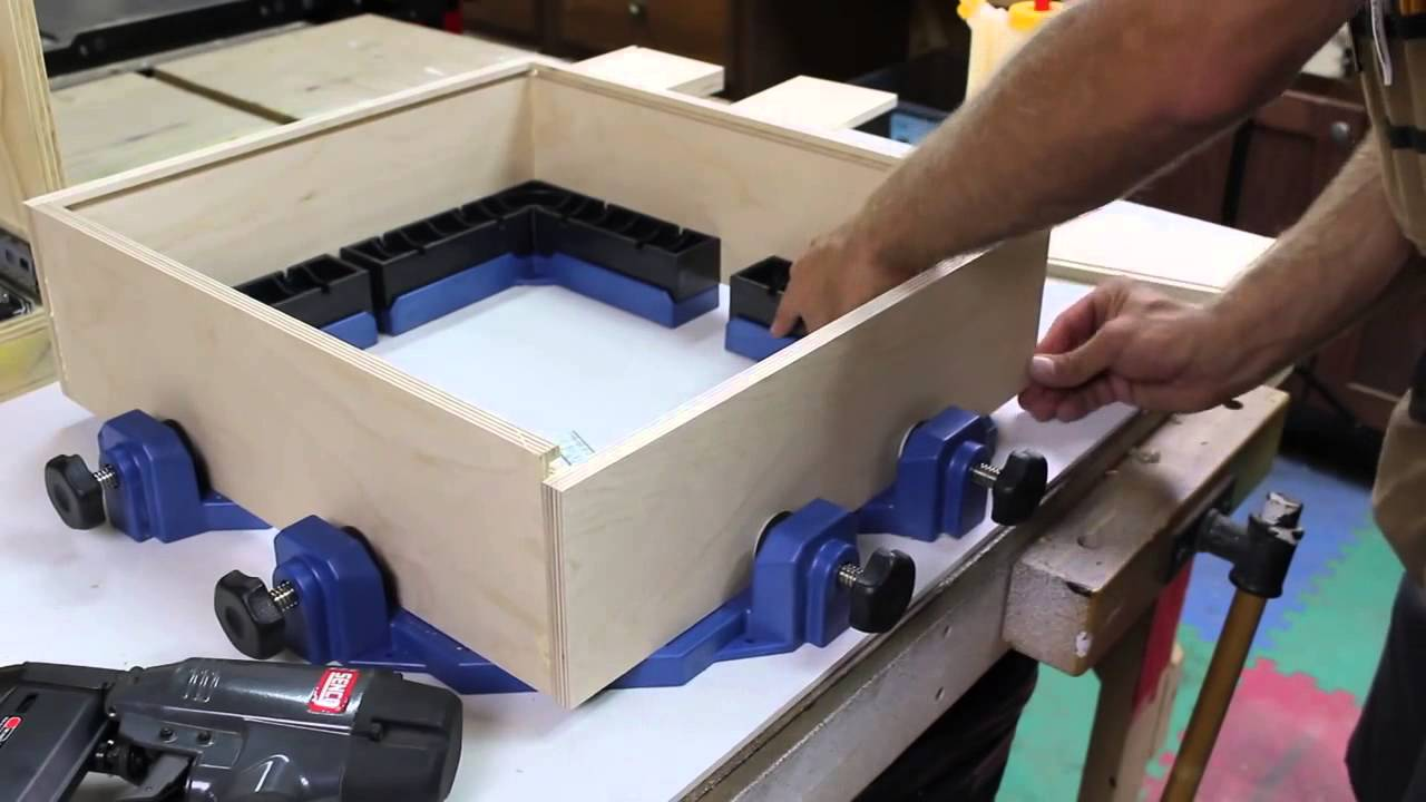 build a small cabinet with rockler's clamp-it corner clamping jig | glass  impressions