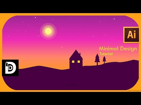 Illustrator cc tutorial how to design flat Landscape wallpaper ; Minimal  illustrator ; DeftDesigner