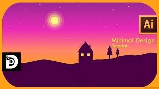 Illustrator cc tutorial how to design flat Landscape wallpaper ; Minimal  illustrator ; DeftDesigner