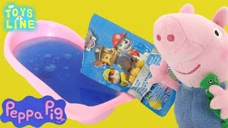 Peppa pig Toys English - George Bathtime with Paw Patrol Fizzy Tub Colours Episode for Kids TOYSLINE