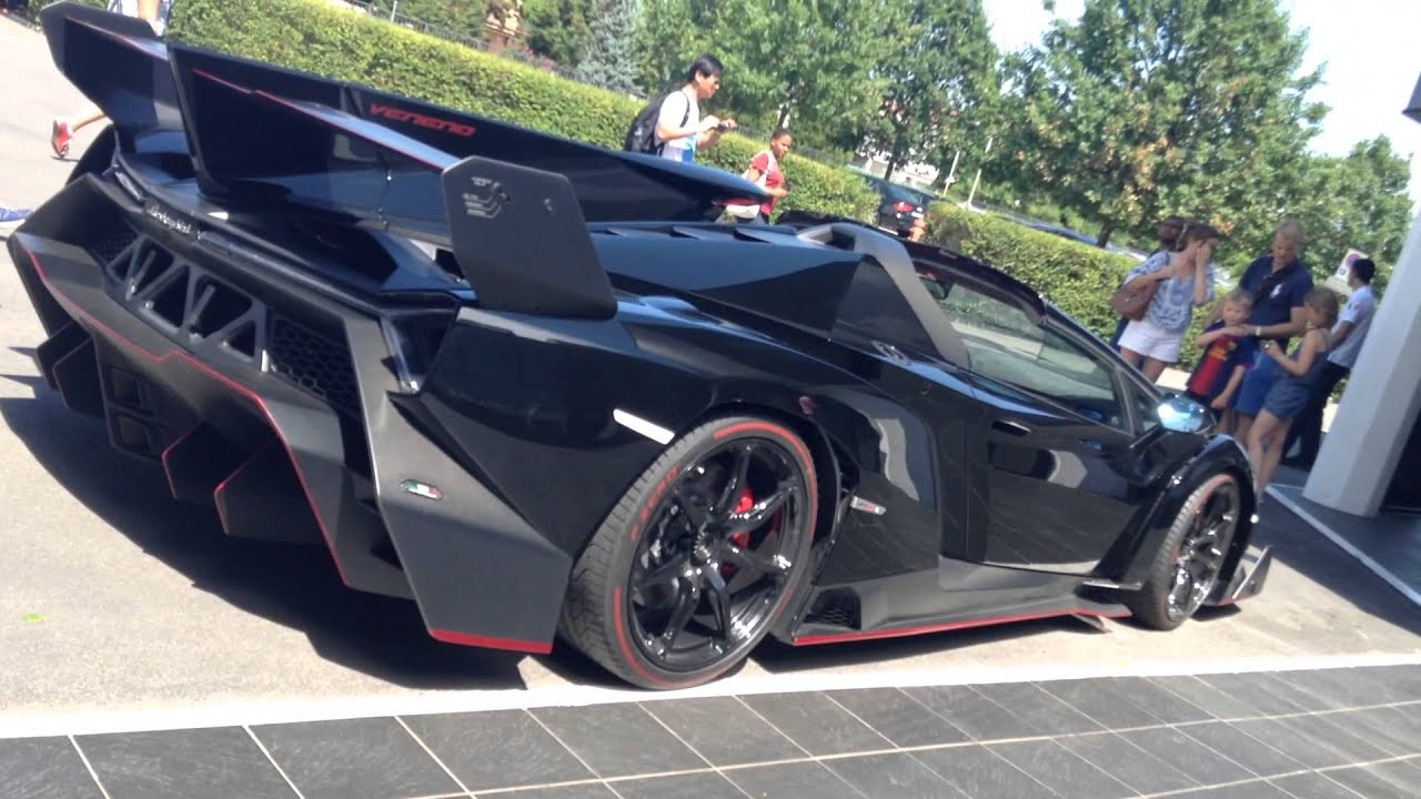 Lamborghini Veneno Roadster in BLACK! Walk around and ...