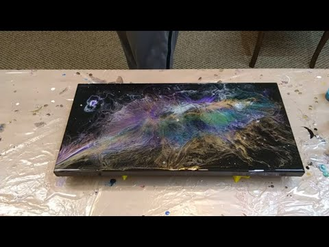 First Galaxy Pour.  Resin art by