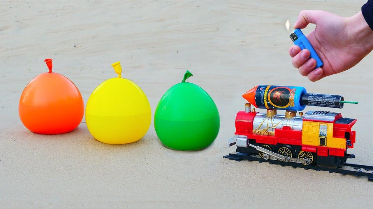 Experiment: Rocket Train vs Balloons