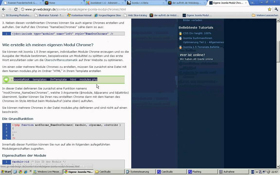 Joomla Templateerstellung - Modul Chrome - YouTube