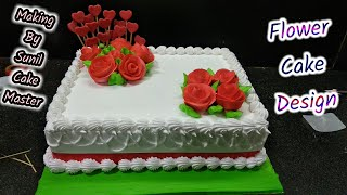 square cake decoration | square flower cake | by Sunil Cake master | Yummy Cake | fancy Cake
