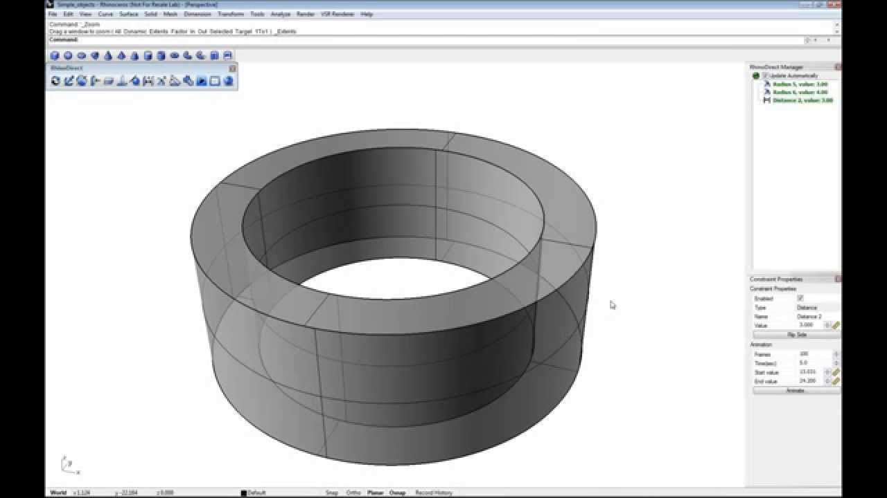 206a2e0f2 Changing cylinder, hole and fillet radius in Rhino - YouTube