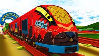 RED BULLET TRAIN - Train Cartoon Videos for Kids - Toy Factory Cartoon Train
