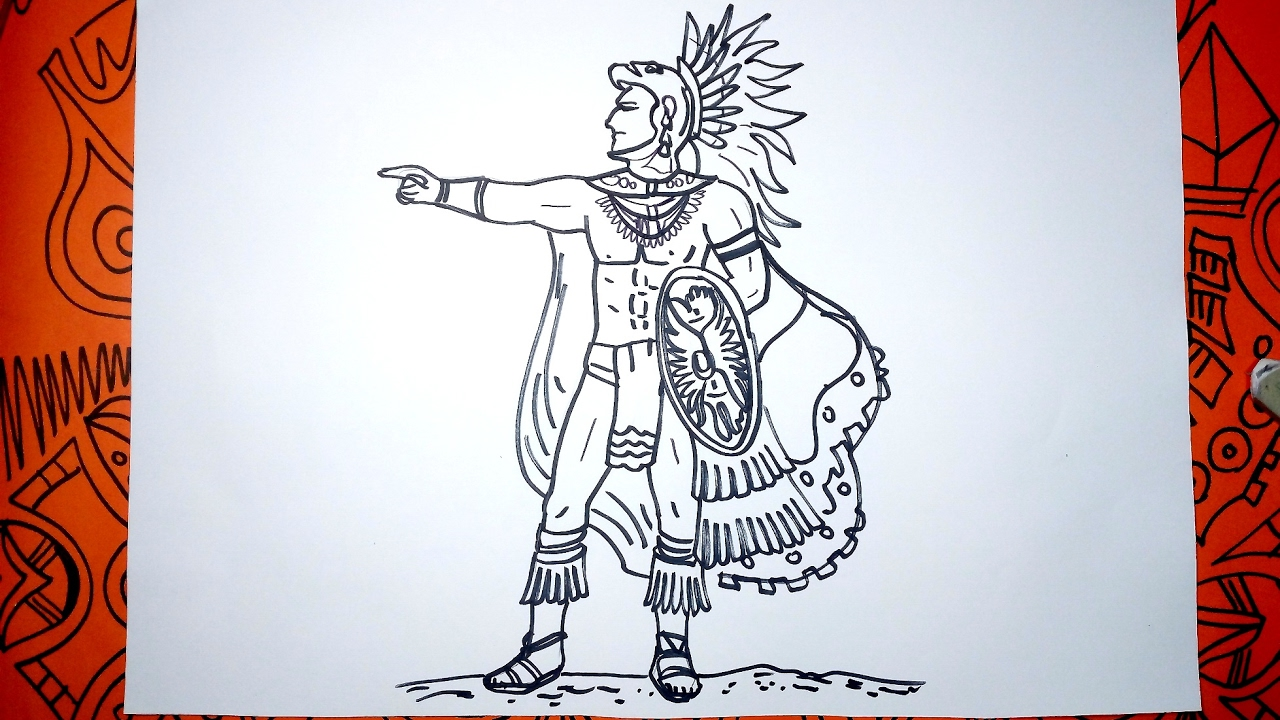 Cómo Dibujar Un Guerrero Maya Paso A Paso Youtube