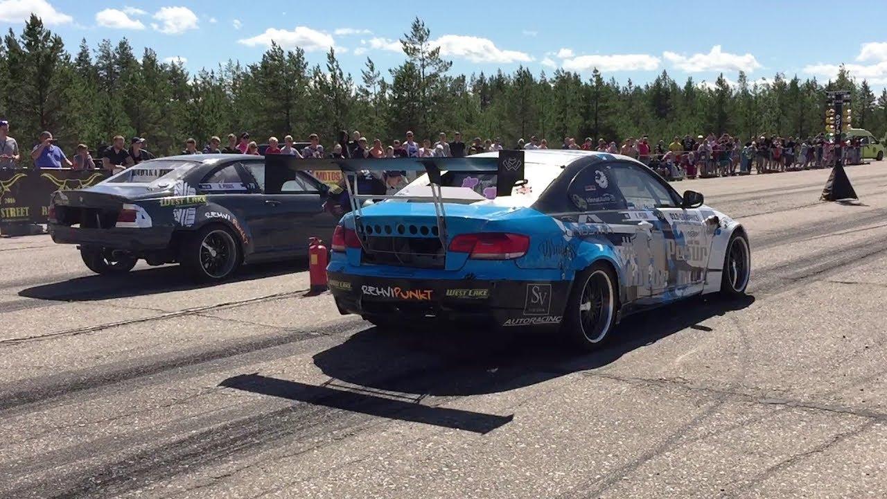 BMW E46 V8 vs BMW M3 E92 M50B31 Stroker Turbo 1/4 mile drag race