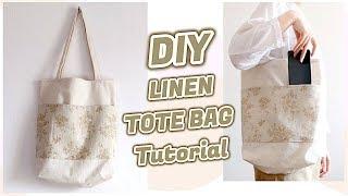 DIY LINEN TOTE BAG Tutorial / Sewing for Beginners / 手作り+ファッション / Costura / 린넨 에코백 만들기ㅣmadebyaya