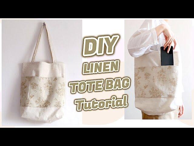Sewing for Beginners DIY LINEN TOTE BAG Tutorial // 手作り+ファッション / Costura / 린넨 에코백 만들기ㅣmadebyaya