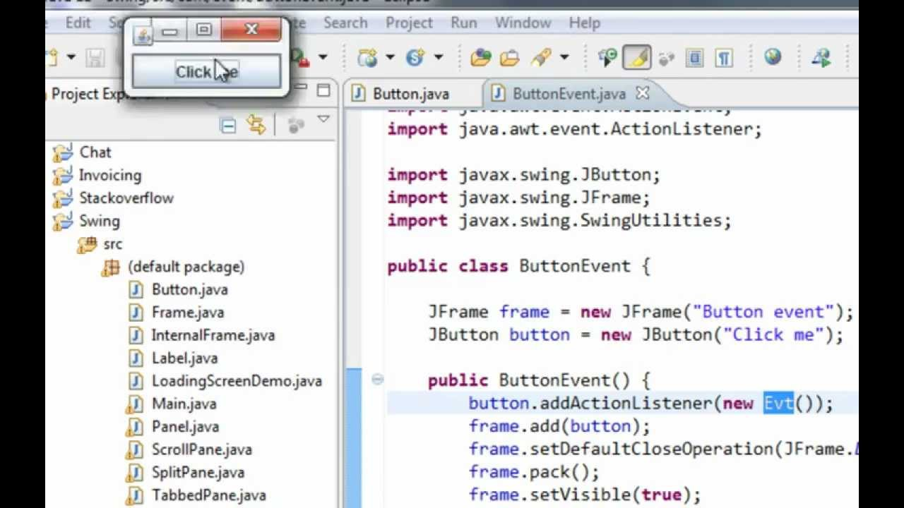 Java swing gui tutorial 10 jbutton and actionlistener youtube java swing gui tutorial 10 jbutton and actionlistener baditri Image collections