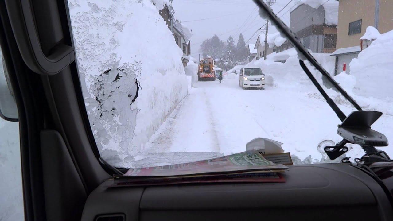 西和賀町 岩手県内最高積雪記録265cmの県道を行く 2013.02.23 - YouTube