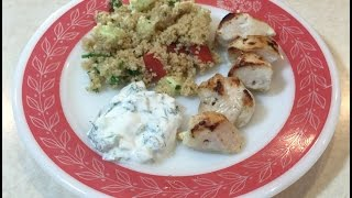 Mediterranean-style Chicken Skewers With Couscous Salad And Tzatziki Sauce