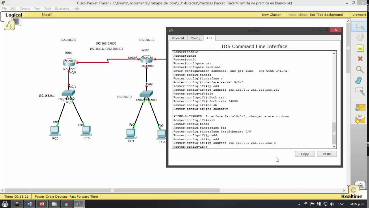 Configurar las interfaces de un router en Cisco Packet