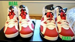 Repeat youtube video NIKE AIR JORDAN 6 CARMINE REAL VS FAKE COMPARISON SIDE BY SIDE