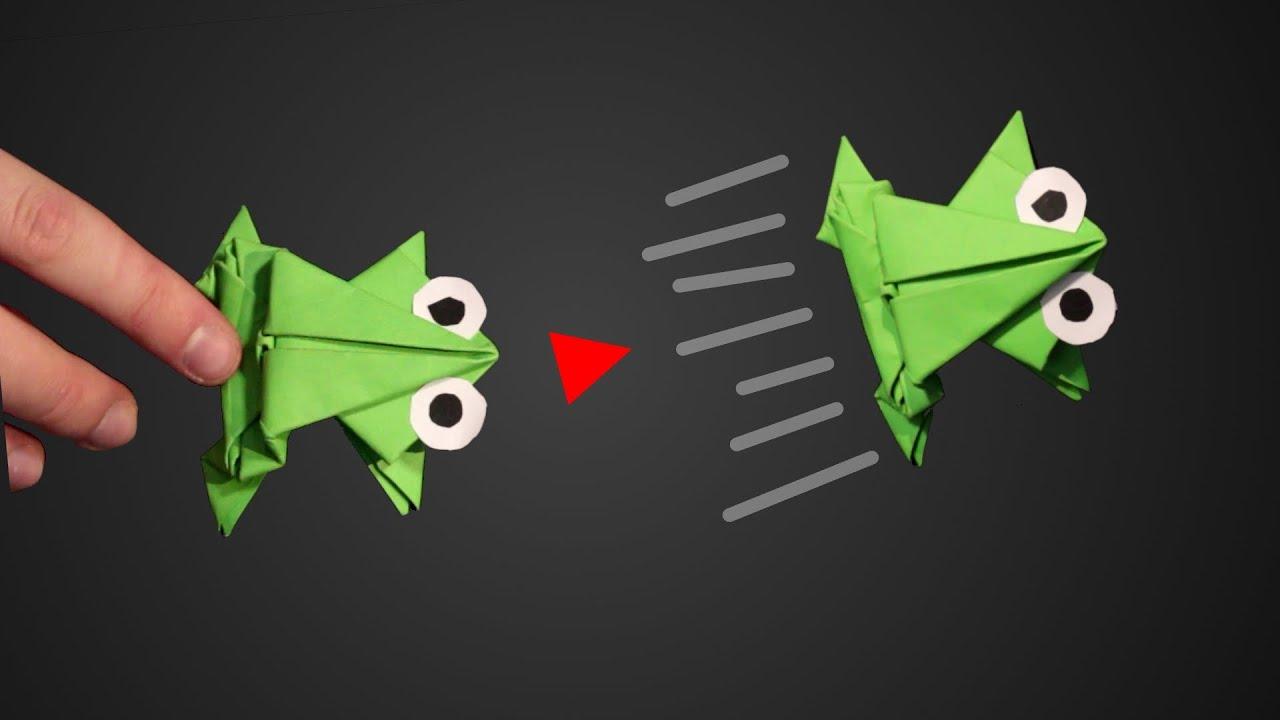 Hüpfenden Frosch Falten Genialer Springfrosch Aus Papier Falten Basteln Anleitung Einfach