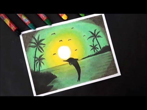 Pastel Boya Ile Manzara Resmi çizimihow To Draw Scenery Green Light With Oil Pastel Step By Step