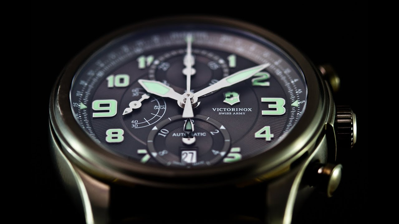 Swiss Army Watch >> Victorinox Infantry Vintage Mechanical Chronograph Video Watch Review - YouTube
