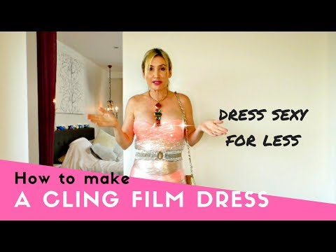 How to make a dress out of cling film. Cling wrap challenge. Having fun as a way to help you sleep.