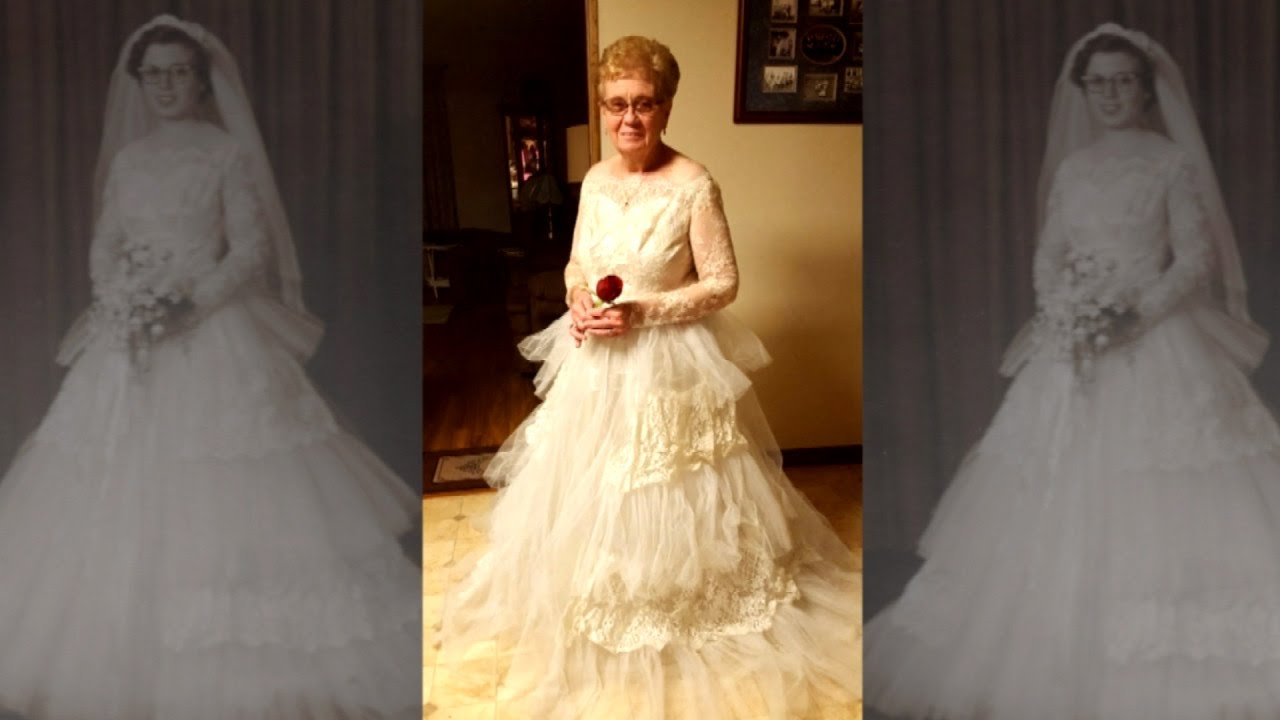 80-Year-Old Woman Puts On Wedding Dress for 60th ...