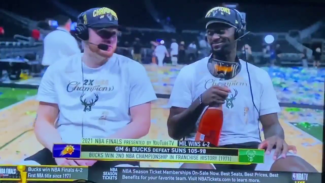 Bobby Portis & Pat Connaughton on how much champagne they drank after the Bucks won the title 😄