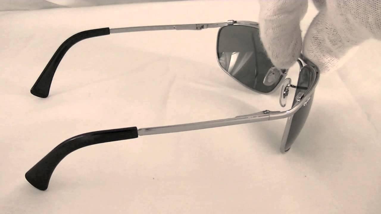 a7526f2f61 Ray Ban Rectangular Olympian Sunglasses RB3119 004 - YouTube