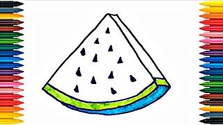 Drawing for Kids How to Draw Watermelon Coloring Pages Fruit and other pictures for Childrens