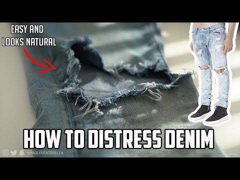 How to distress denim jeans (EASY TUTORIAL for Fear of God Look)